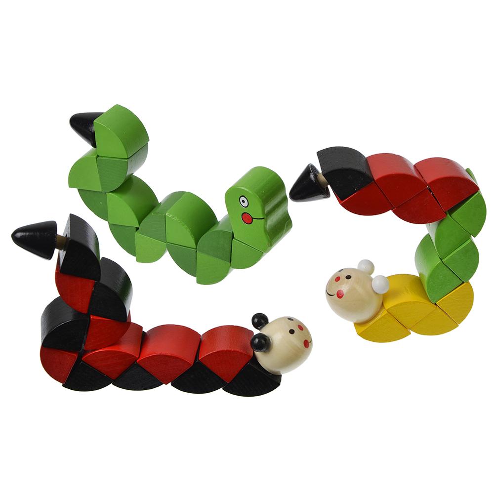 """МЕШОК ПОДАРКОВ Игрушка-змейка """"Животные"""", дерево, 17см, 4 дизайна"""