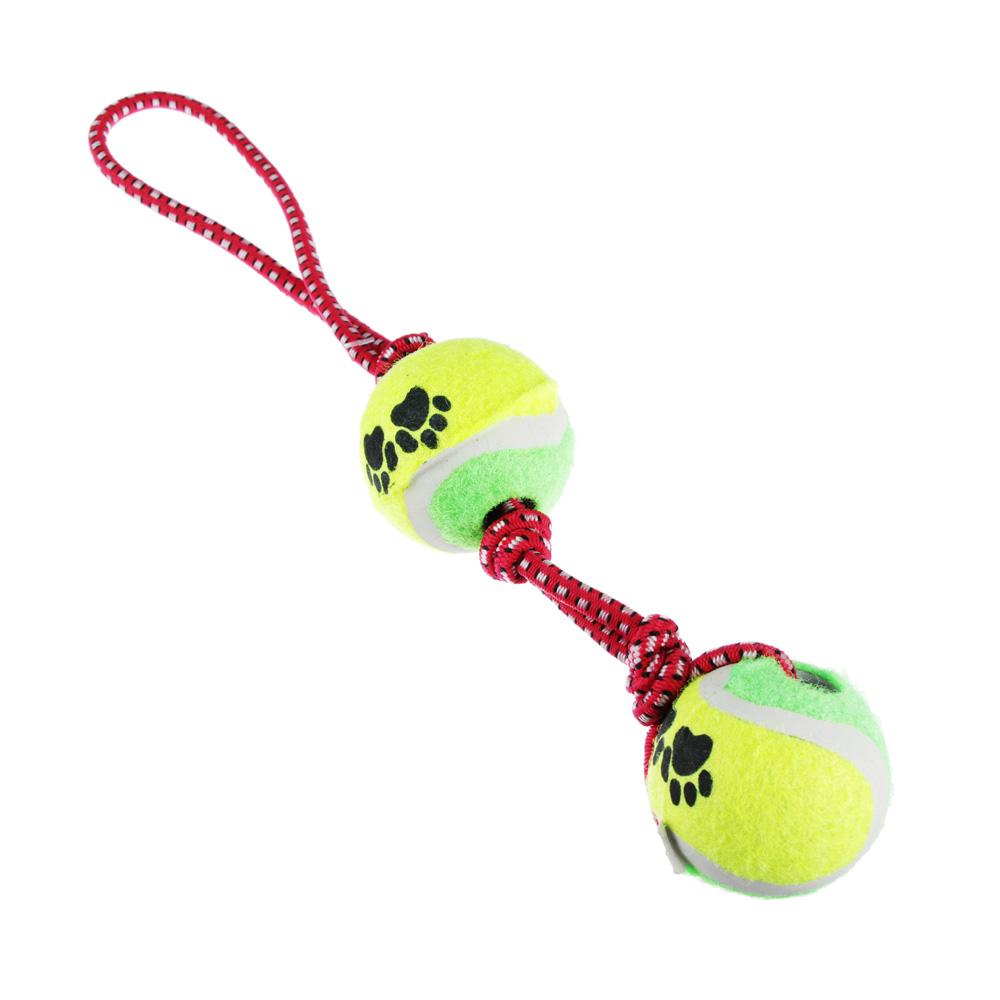 """Игрушка для собак """"Канат с мячами"""" d4,5смх31см"""