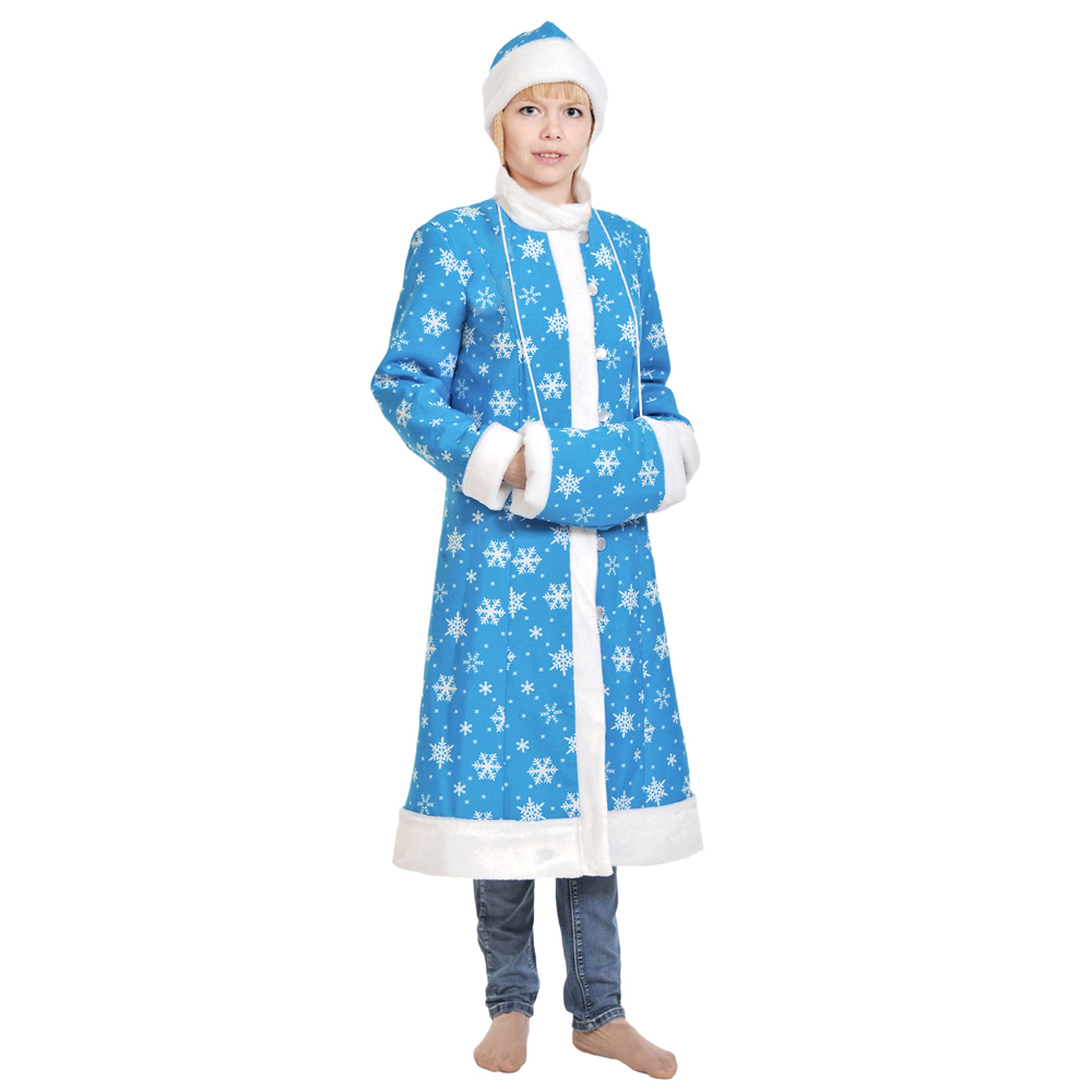"Костюм карнавальный шубка, шапка, муфта, ткань-плюш, р-р М/46-48/165, ""Снегурочка"""