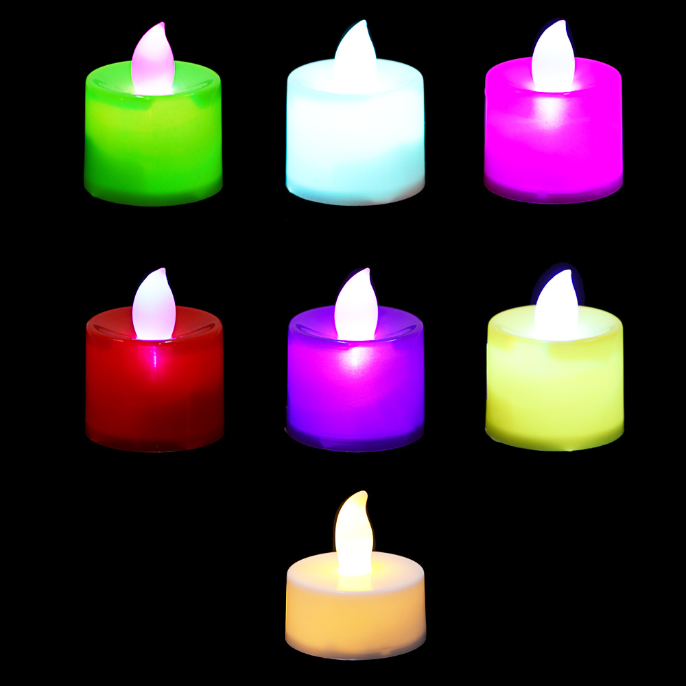 Фонари декоративные в виде свечей, пластик, LED, 4,5х4см, 6-7 цветов