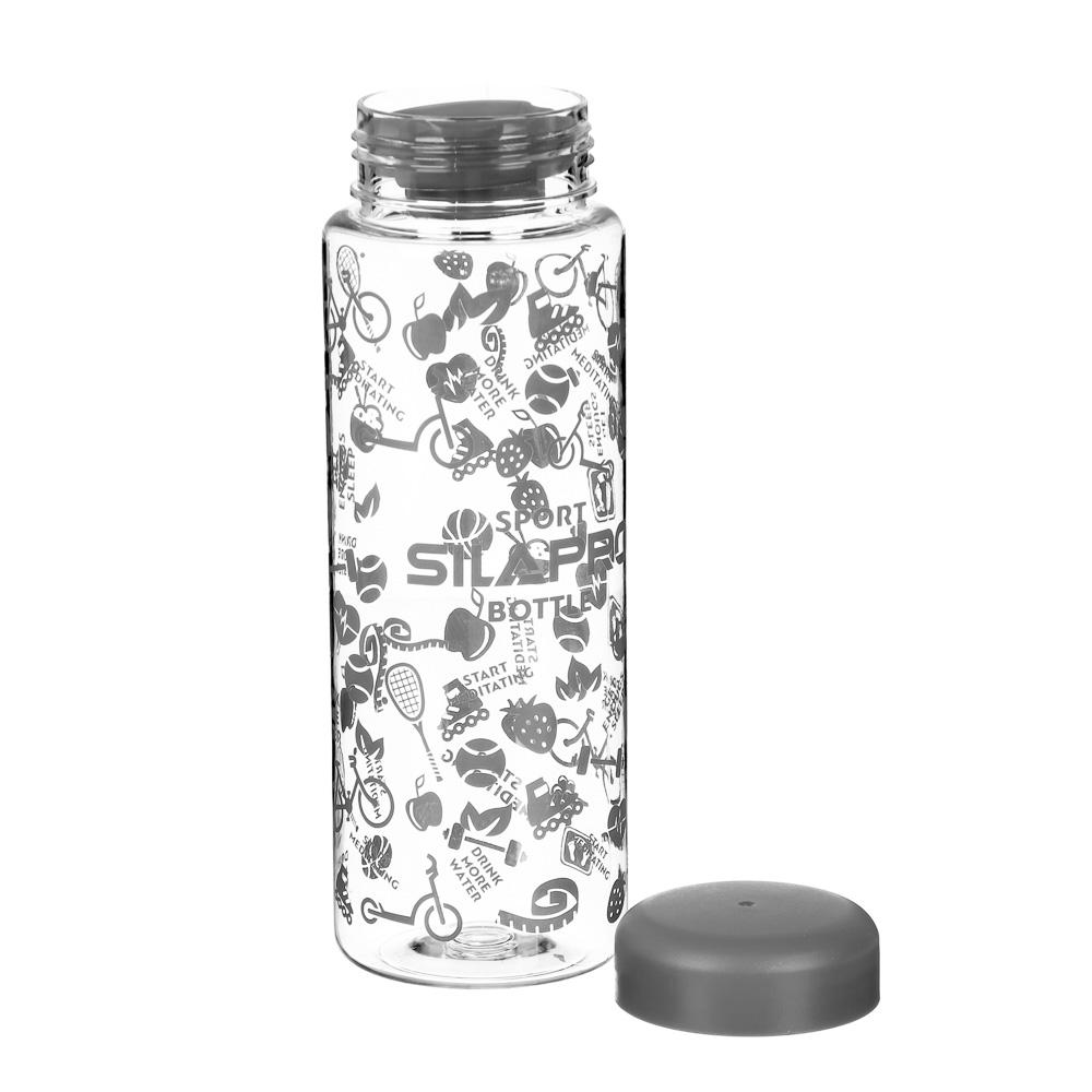 Бутылка для фитнеса, полипропилен, 0,5 л, 4 цвета крышек, SILAPRO