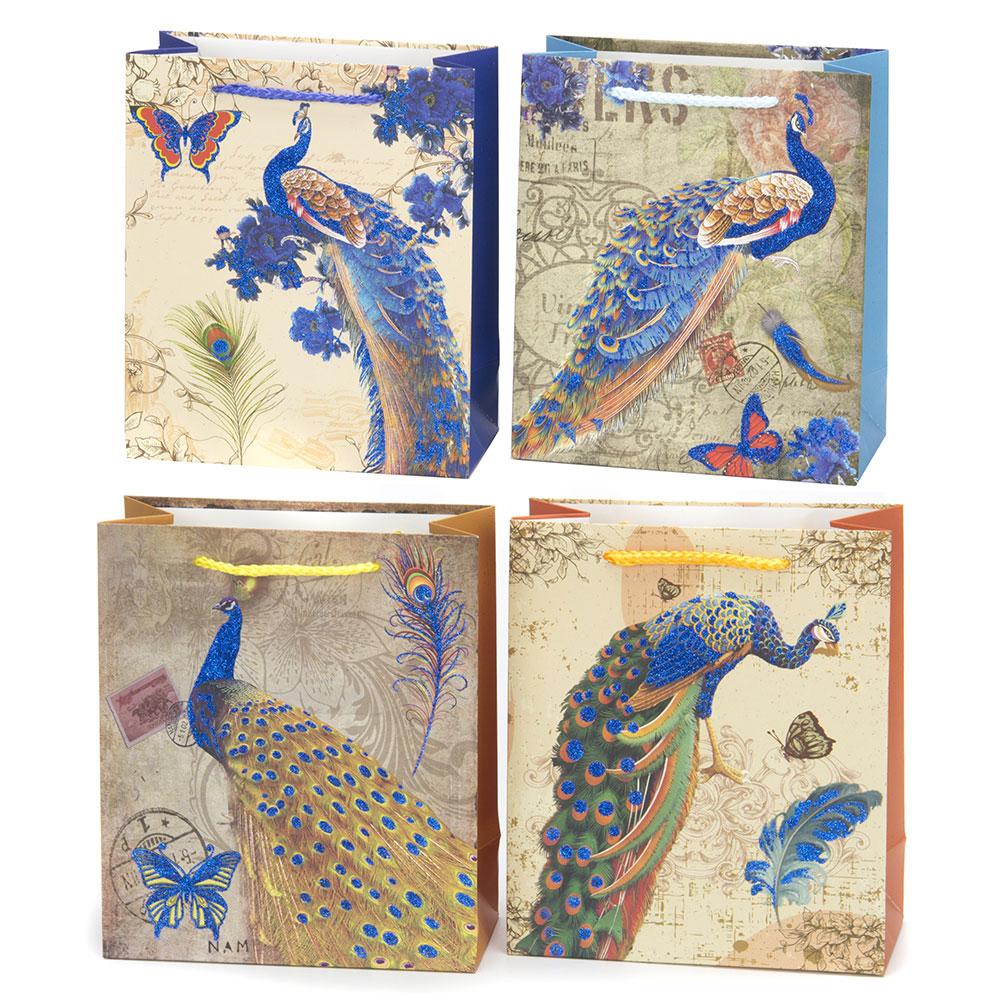 Пакет бумажный подарочный с павлинами, 18х21х8,5см, 4 дизайна, высококачественная бумага, арт.2006