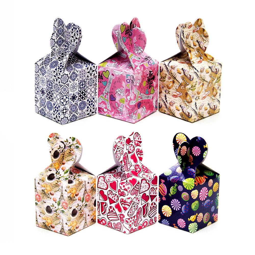 Коробка подарочная бумажная, 10х8,5х8,5см, 6 дизайнов ГЦ