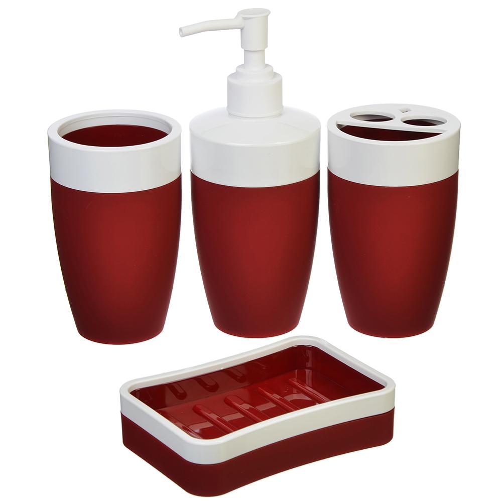 Набор для ванной 4 пр., пластик, бордовый