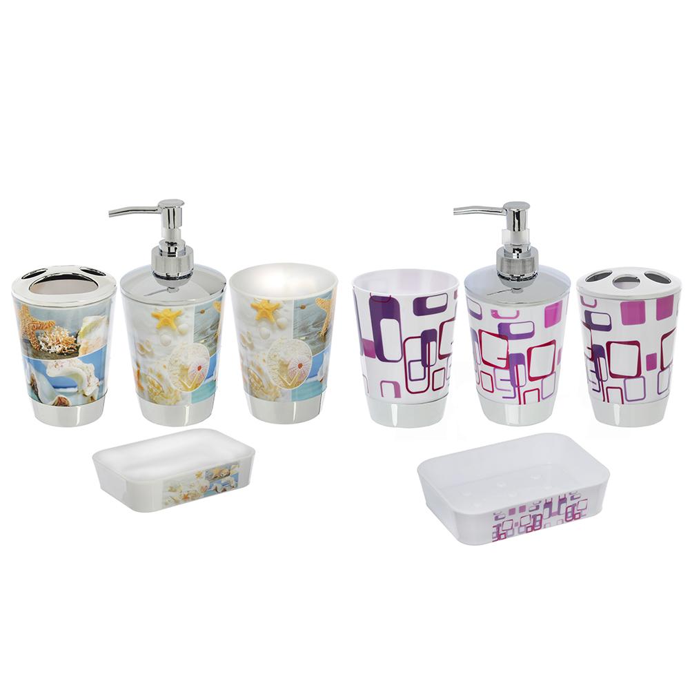 Набор для ванной: стакан, стакан под щетки, диспенсер, мыльница, пластик, 2 дизайна