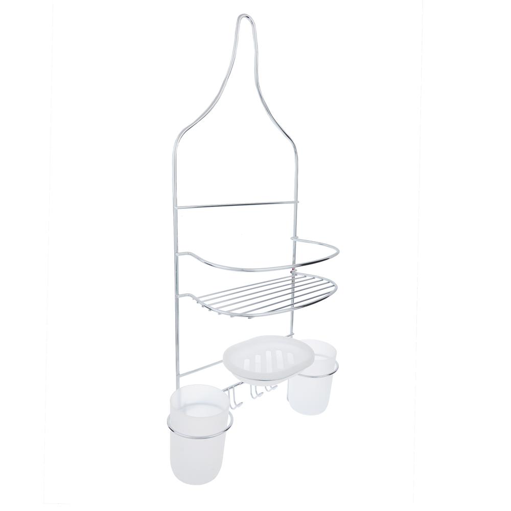 Полочка навесная для ванной комнаты с 2 стаканами,