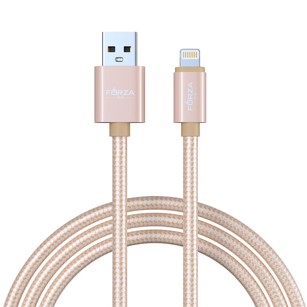 Кабель для зарядки iP FORZA, в перламутровой оплетке, 1,5 м, 1А, синхр. с ПК, 3 цвета