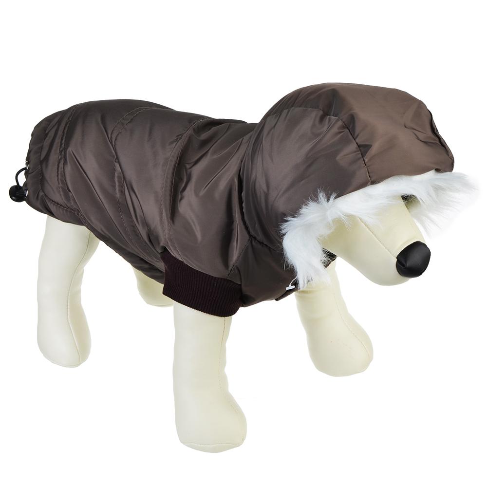 Куртка для животных с искусственным мехом, бежевая клетка