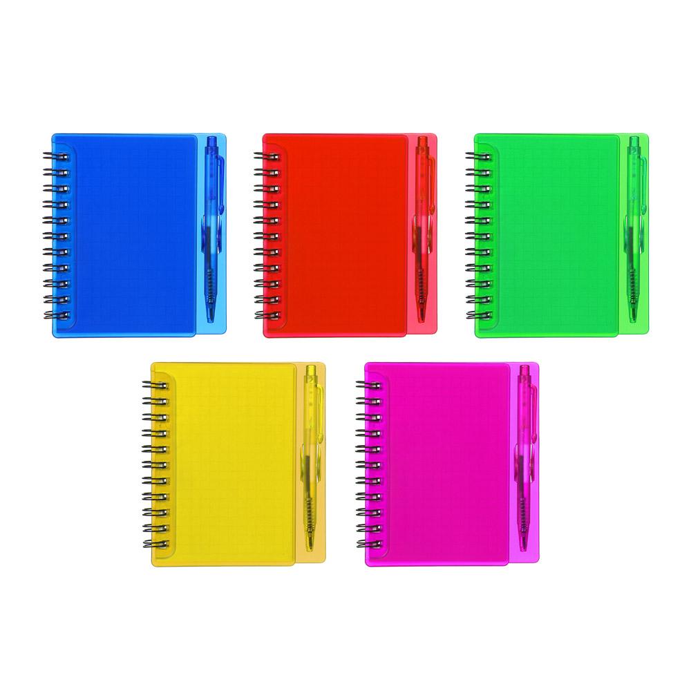 Записная книжка в клетку с ручкой, 80л., твердая пластиковая обложка, 9,5х11 см, 8 цветов