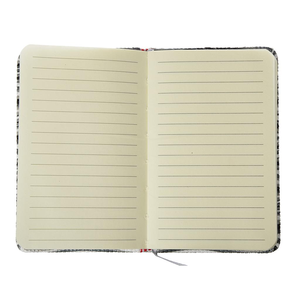 """Записная книжка А6, 80л., твердая обложка, резинка, закладка, PU, бумага, 4 дизайна, """"Вейв"""""""