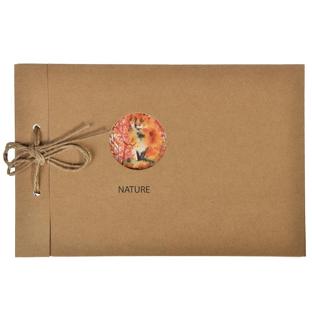Записная книжка - скетчбук 13х19 см 100 листов, обложка крафт, шнуровка, без линовки