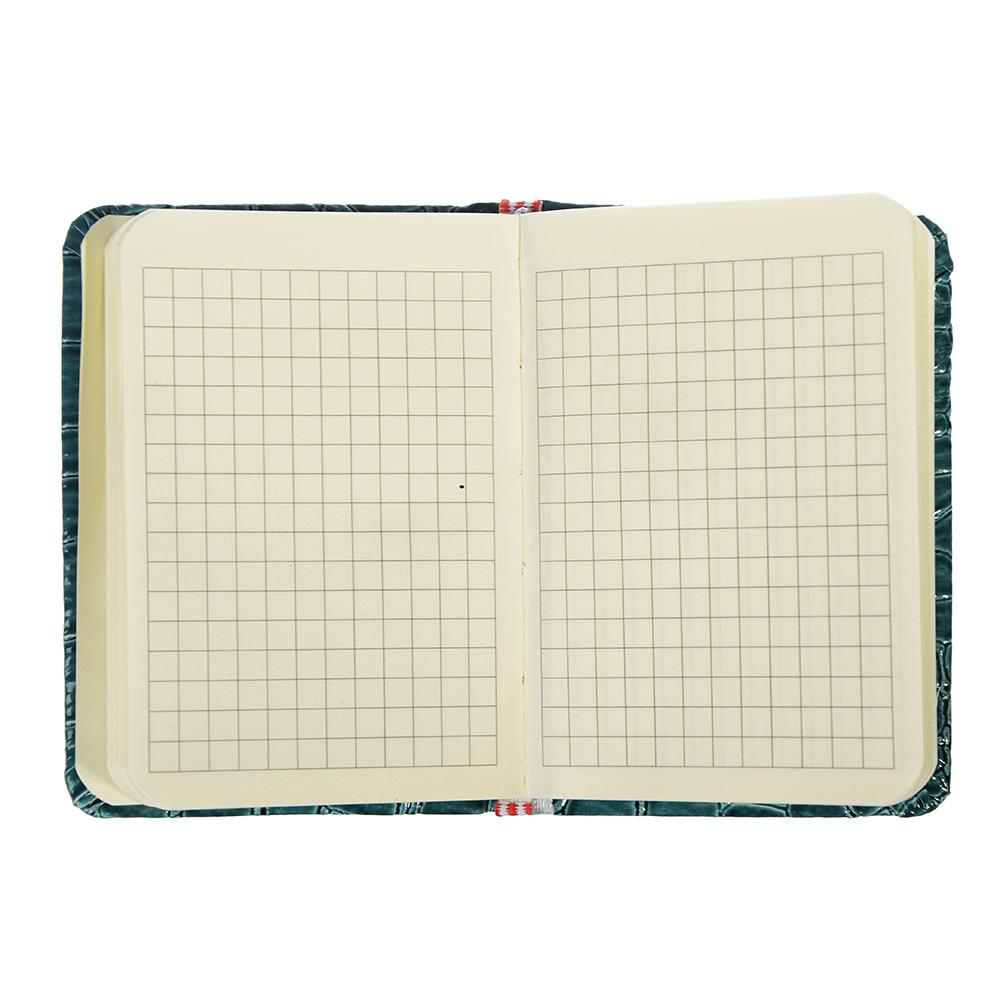 Записная книжка А7 80л., тв.обложка, резинка, закладка, ПУ под кожу крокодила, бумага, 4 цвета