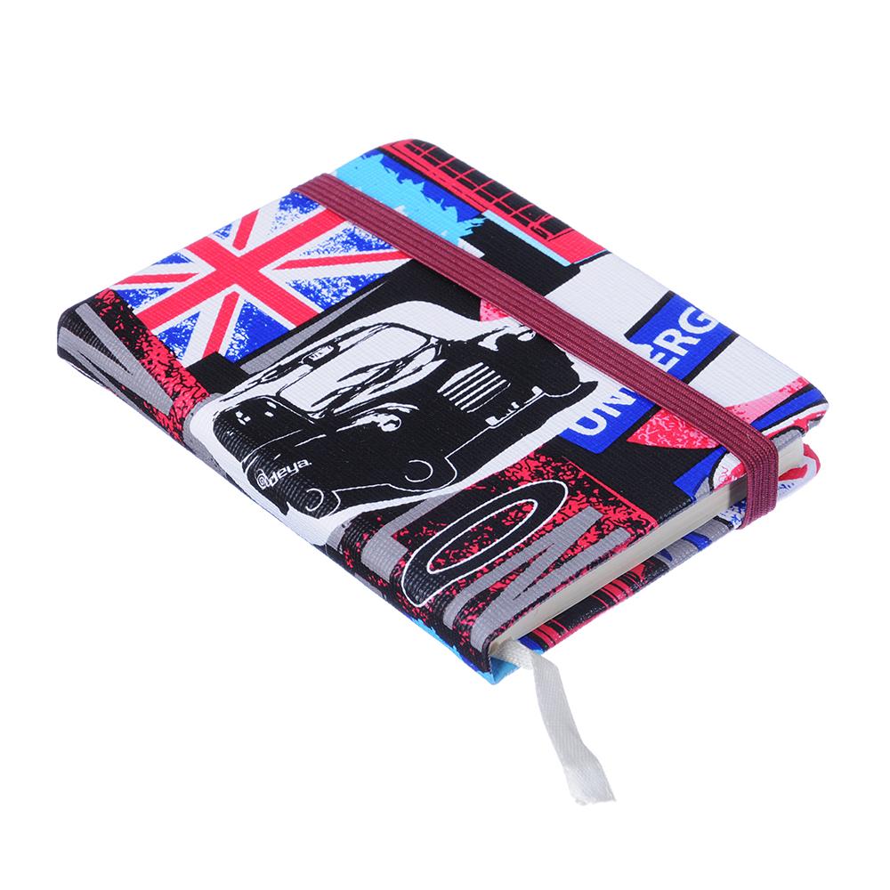 Записная книжка А7 80л., тв.обложка, резинка, закладка, PU, бумага, 4 дизайна
