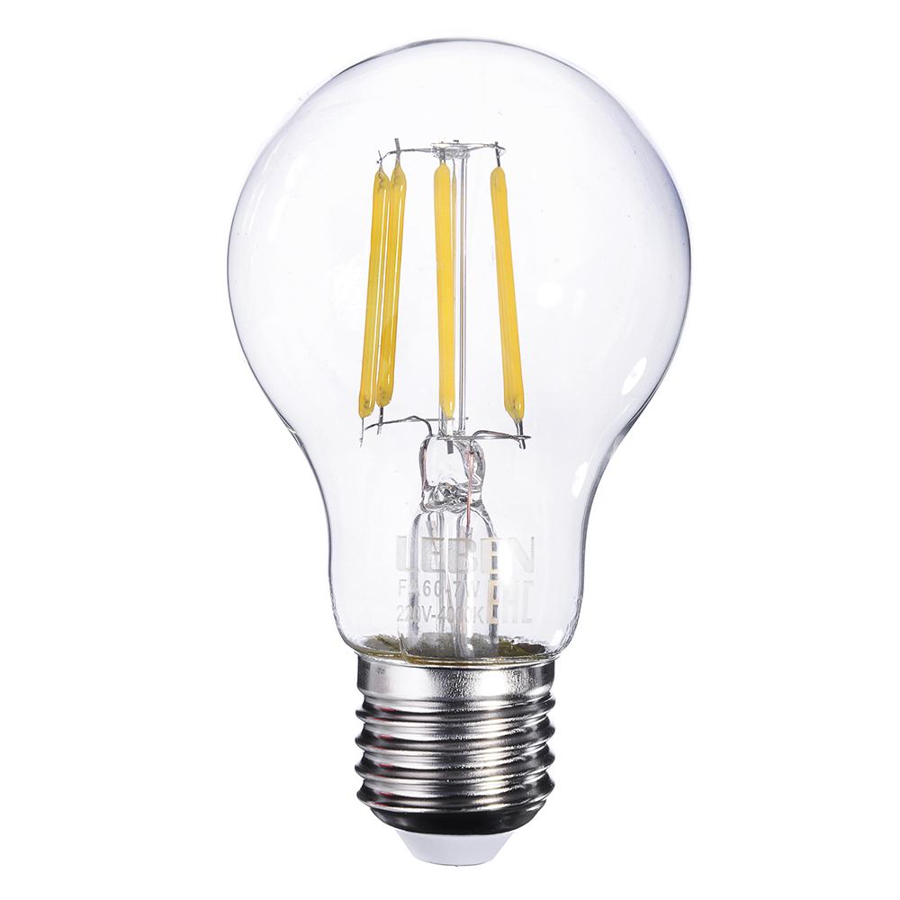 LEBEN Лампа филаментная A60, 7W, E27, 560 lm, 4000 K