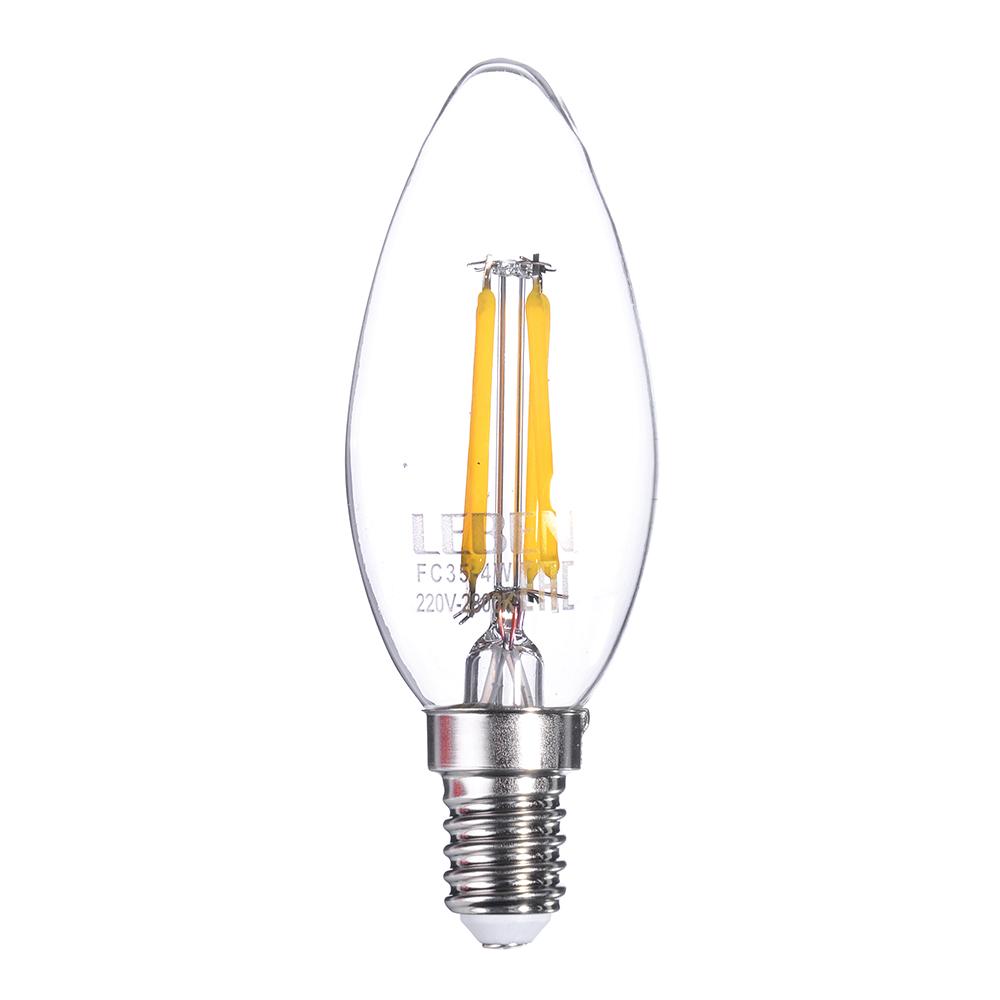 LEBEN Лампа филаментная свеча, 4W, Е14, 390 lm, 2800К