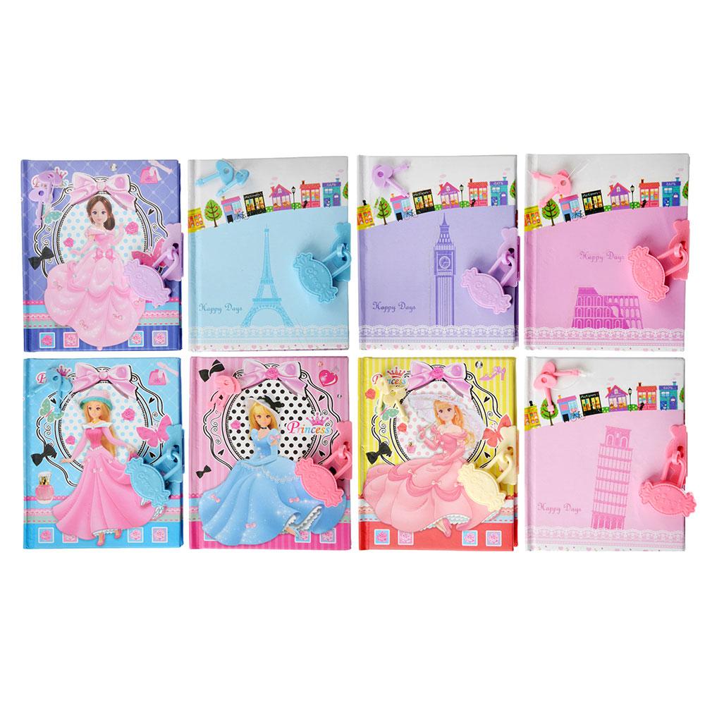 ХОББИХИТ Блокнот на замочке, бумага, пластик,12,5х10,5см, 8 дизайнов