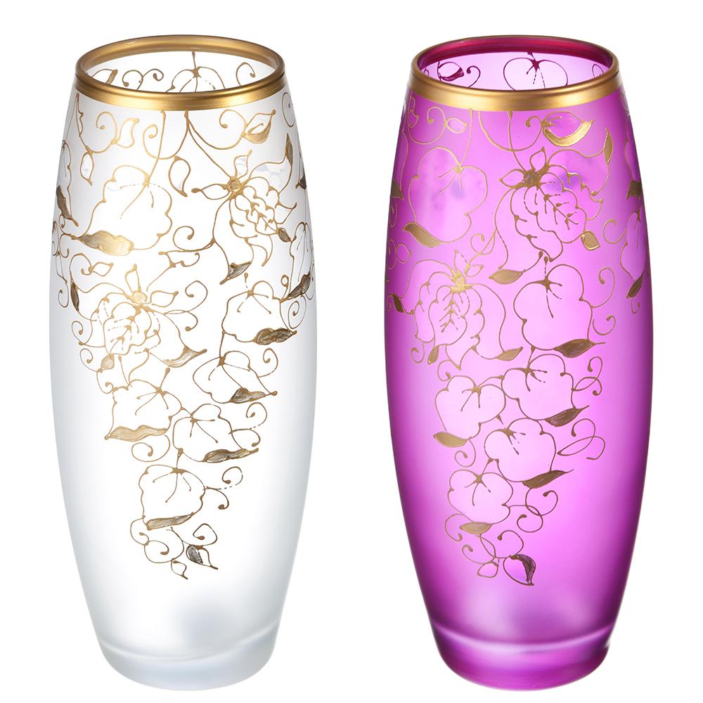 PASABAHCE Ваза Коллекция Узоры, стеклянная, ручная роспись, 26х11 см, 2 цвета: фиолетовый и белый