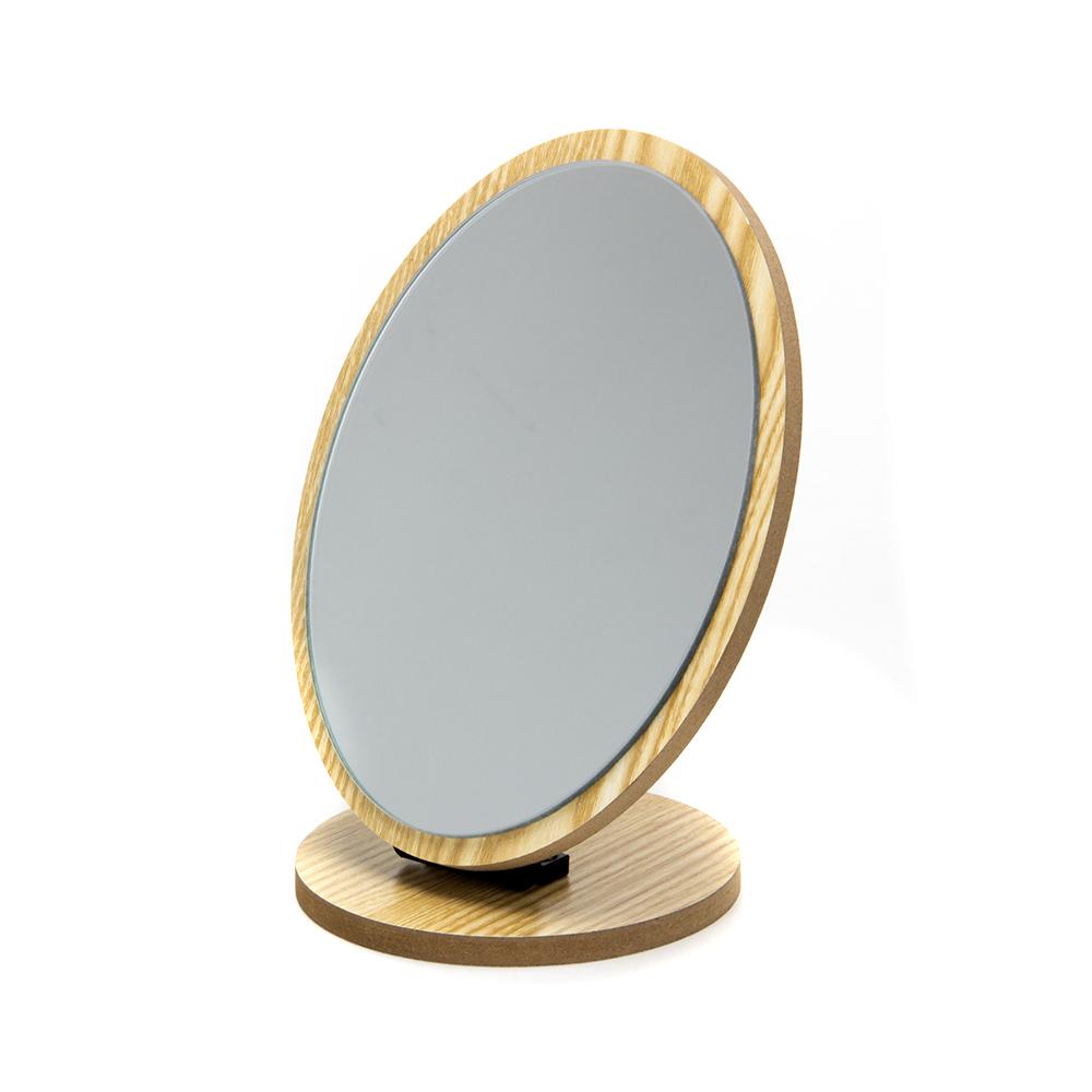 Зеркало настольное, 16х21 см, пластик, стекло, дерево, 4 цвета