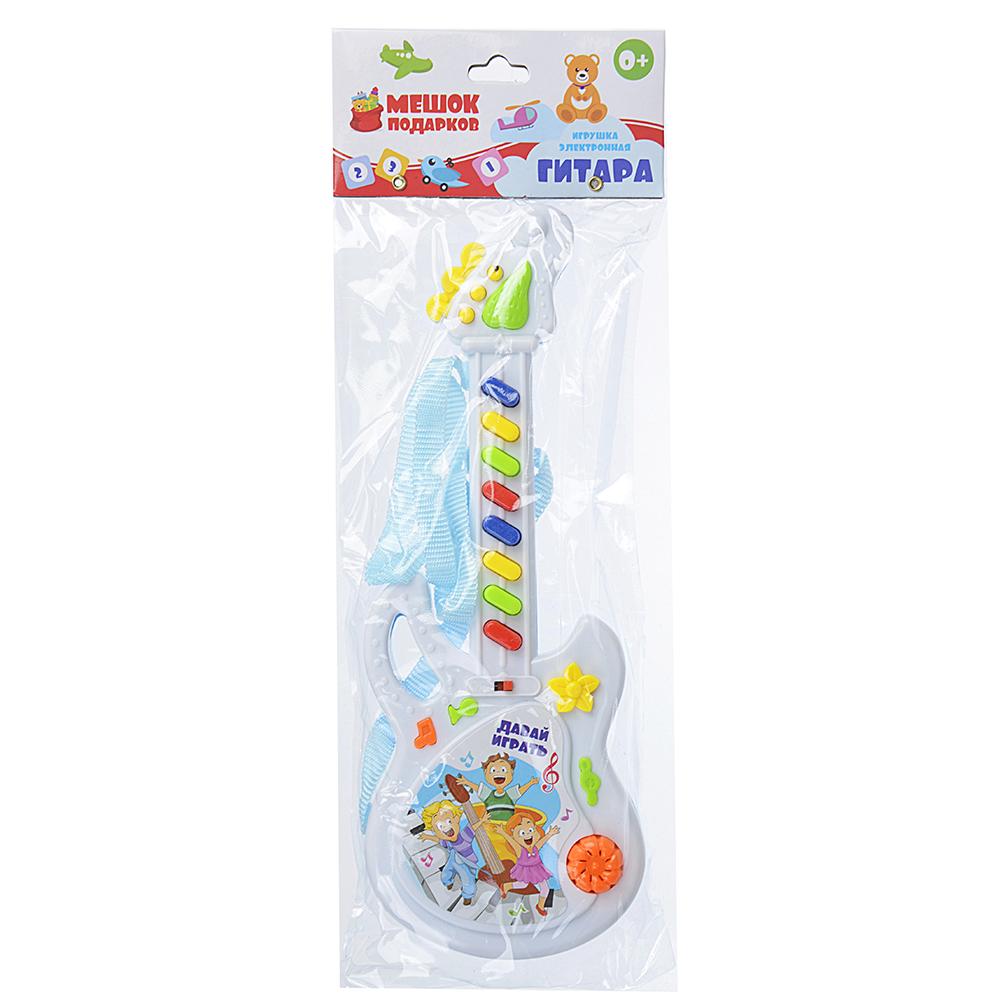 МЕШОК ПОДАРКОВ Игрушка электронная Гитара, свет, звук, пластик, 2хАА, 10х25х3см, ZY287807