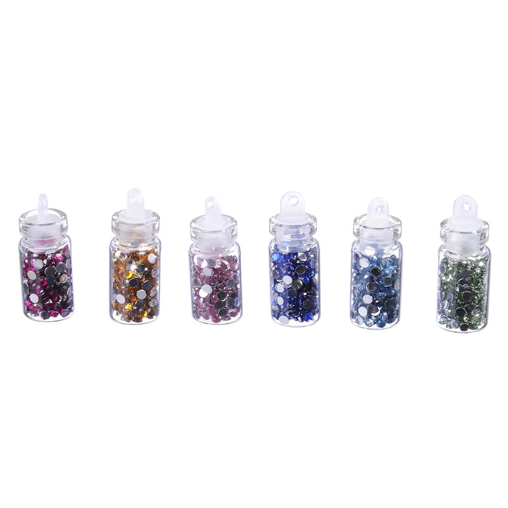 Декор для дизайна ногтей в баночках в виде страз, 12шт, разноцветные