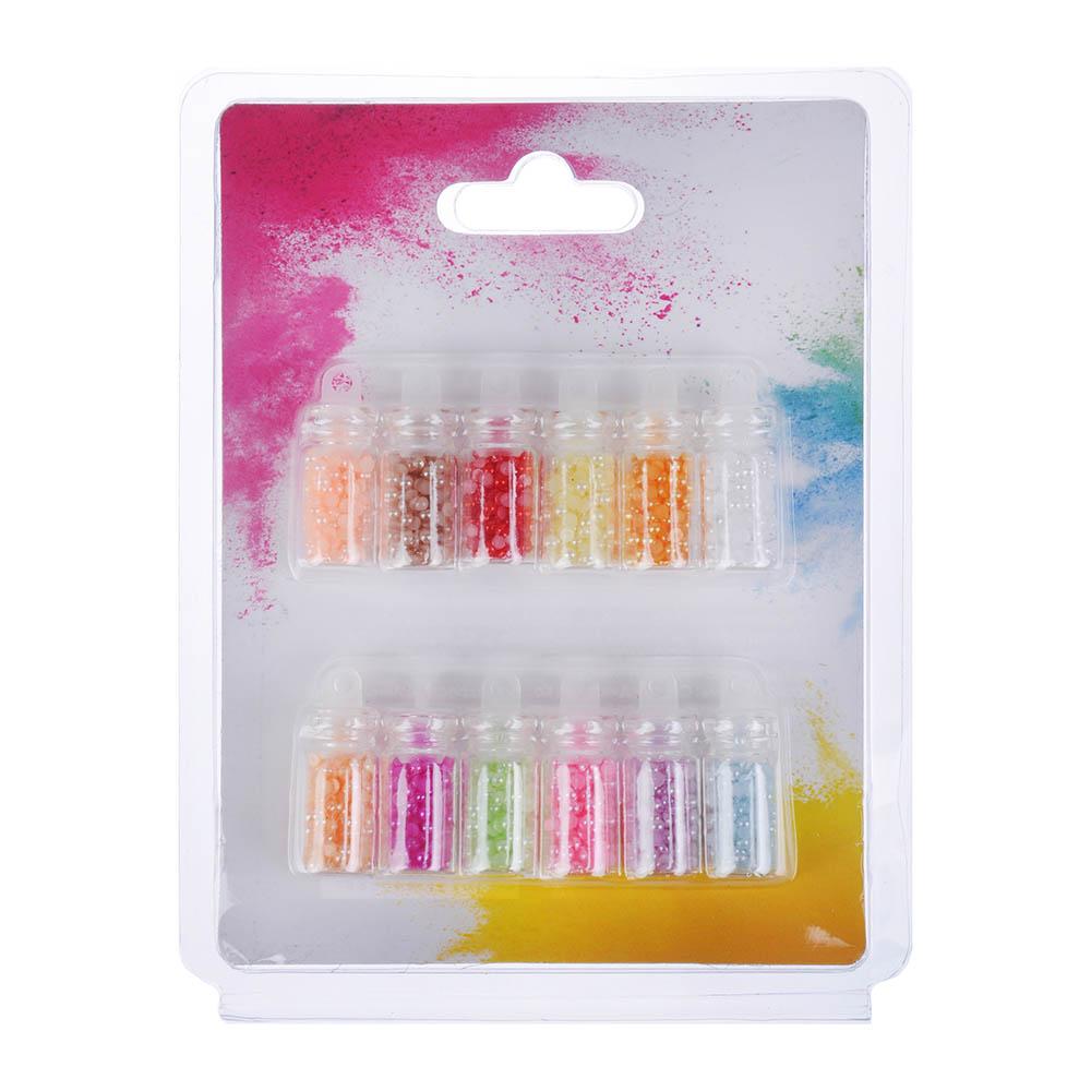 Декор для дизайна ногтей в баночках в виде страз, 12шт, перламутровые, разноцветные