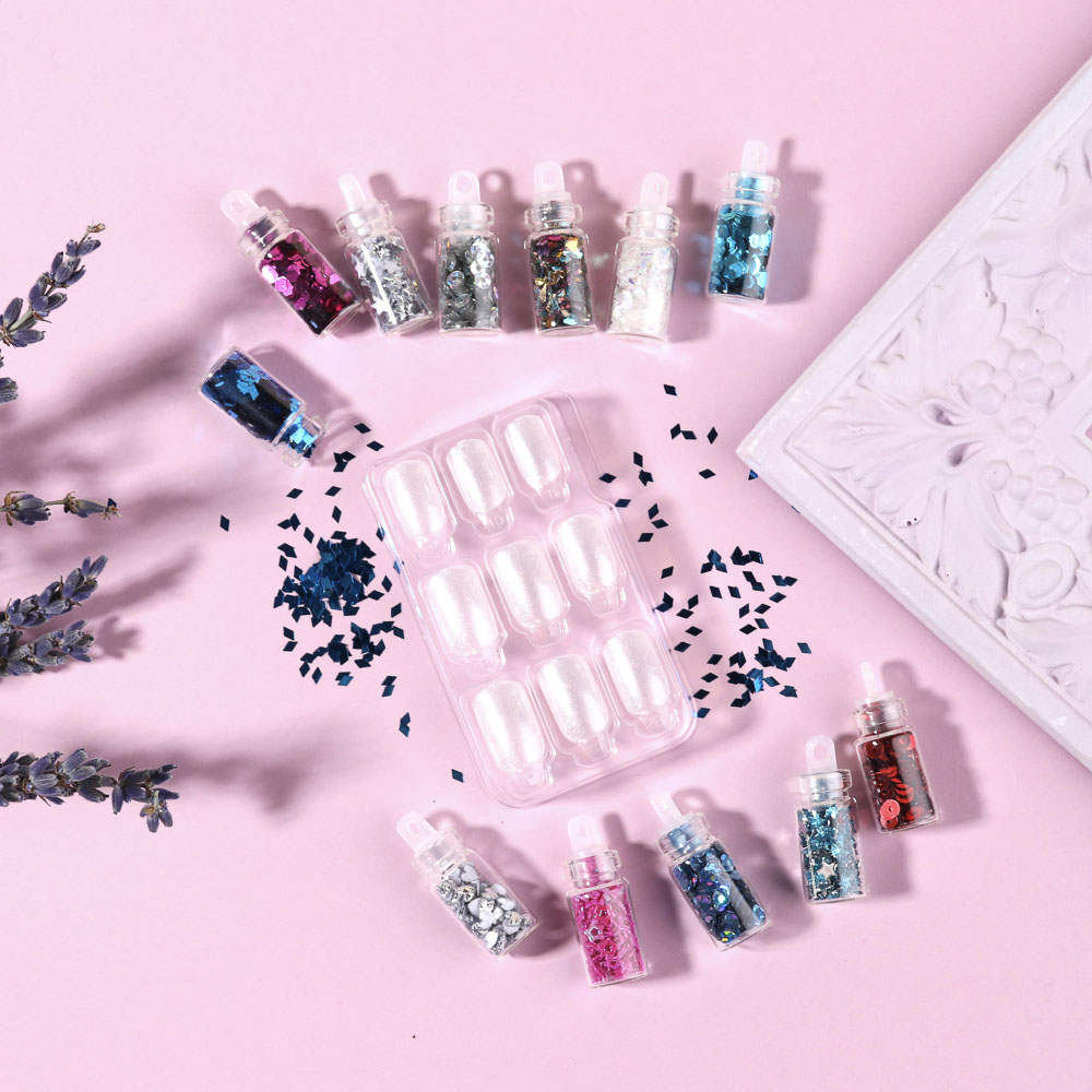 """Декор для дизайна ногтей в баночках """"Фигурки"""" , 12шт, микс дизайнов"""