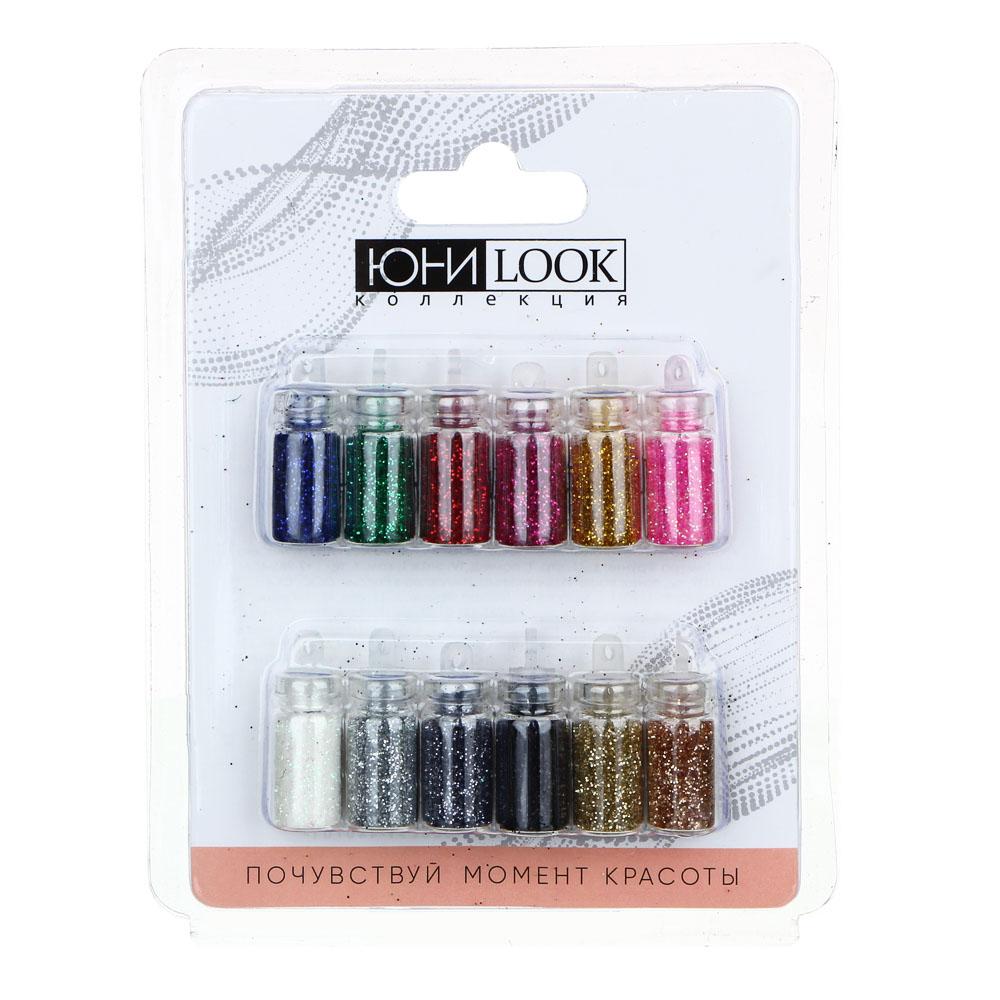 """Декор для дизайна ногтей в баночках ЮниLook """"Блёстки"""", 12 шт, разноцветные"""