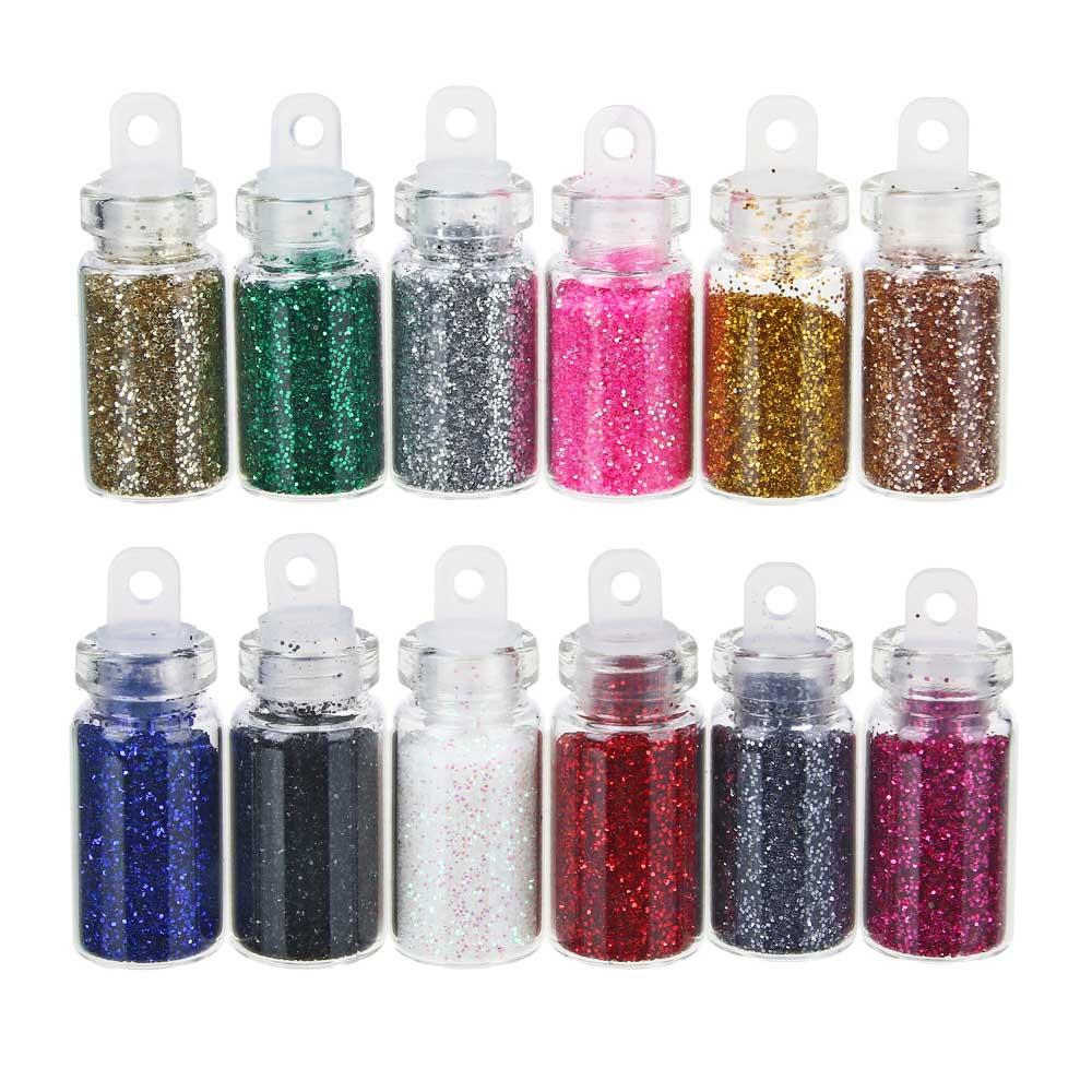 """Декор для дизайна ногтей в баночках """"Блёстки"""" , 12шт, разноцветные"""