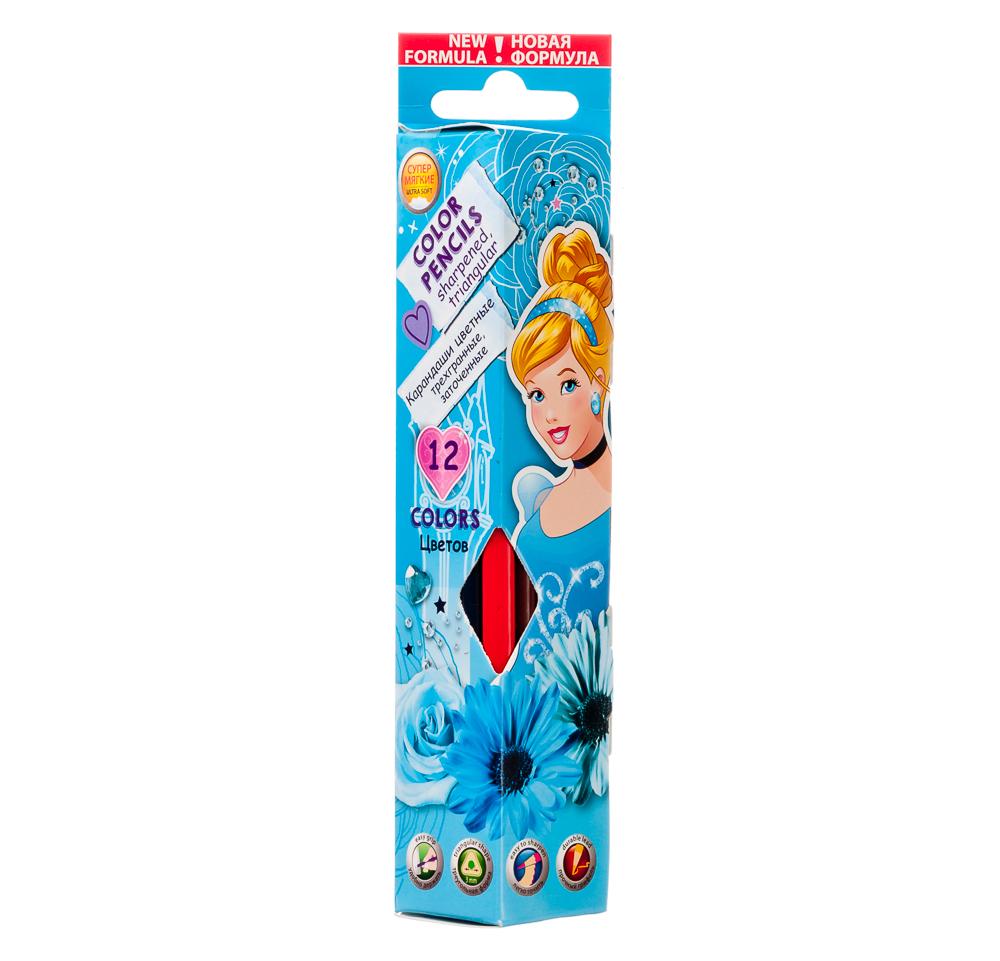 """Карандаши 12 цветов трехгранные заточенные, дерево, в трехгранной к.к., """"Принцесса"""", PRCB-US1-3P-12"""