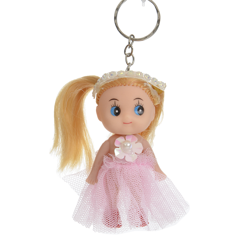 Брелок мини-куколка, пластик, полиэстер, 7,5см, 6 цветов