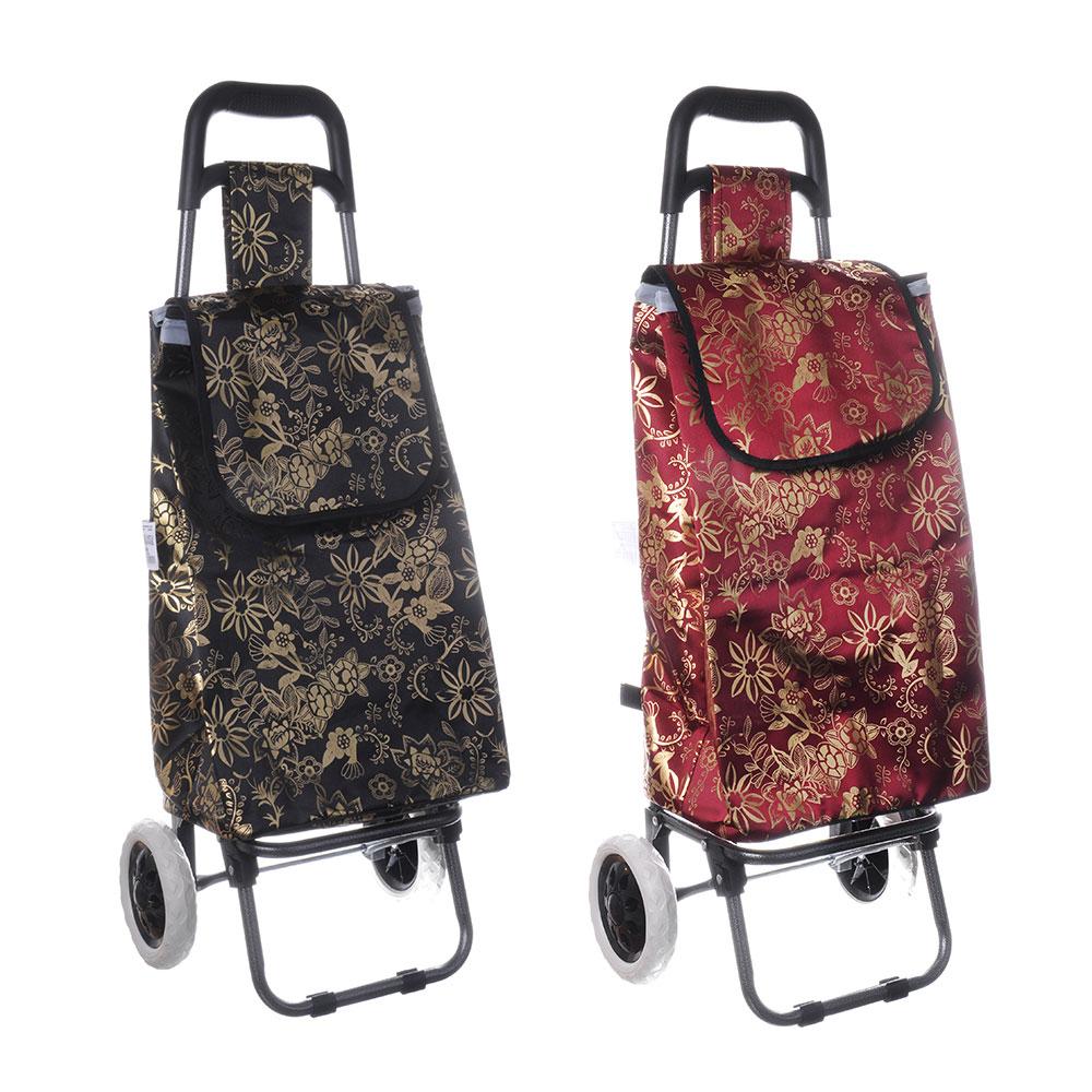 Тележка + сумка, грузоподъемность до 30кг, брезент, 36х28х91см(сумка 33x22x55см) Цветы, 2 цвета