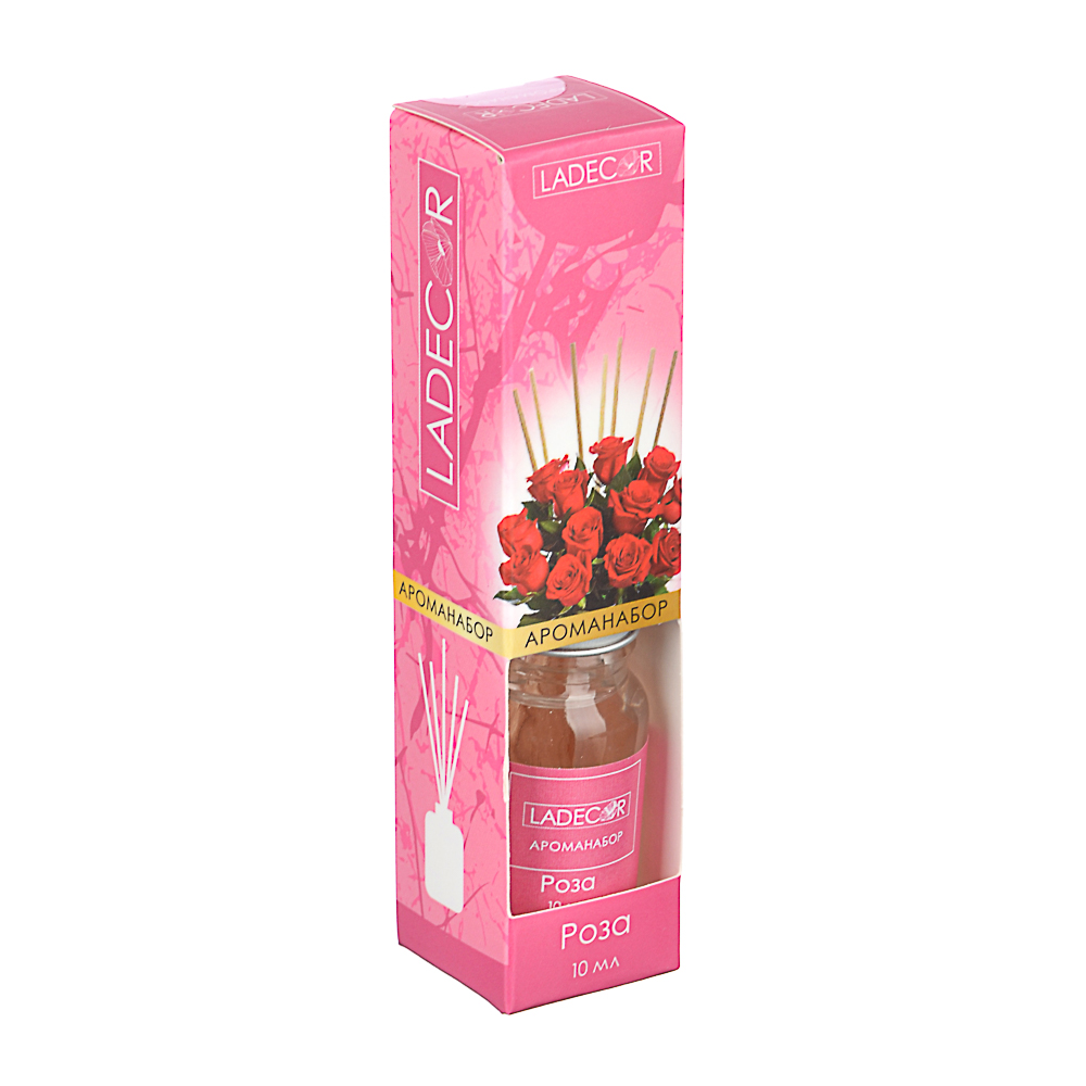 LADECOR Аромадиффузор с палочками, 10мл 6 ароматов зел.чай,лаванда,роза,ваниль,океан,корица
