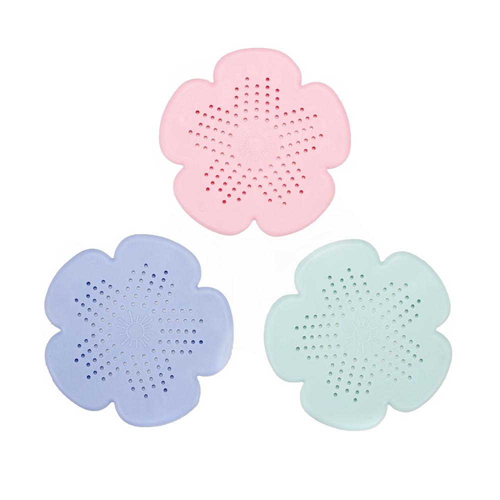 Фильтр-сетка для раковины/ванной в виде цветочка, силикон, d15см, 3 цвета