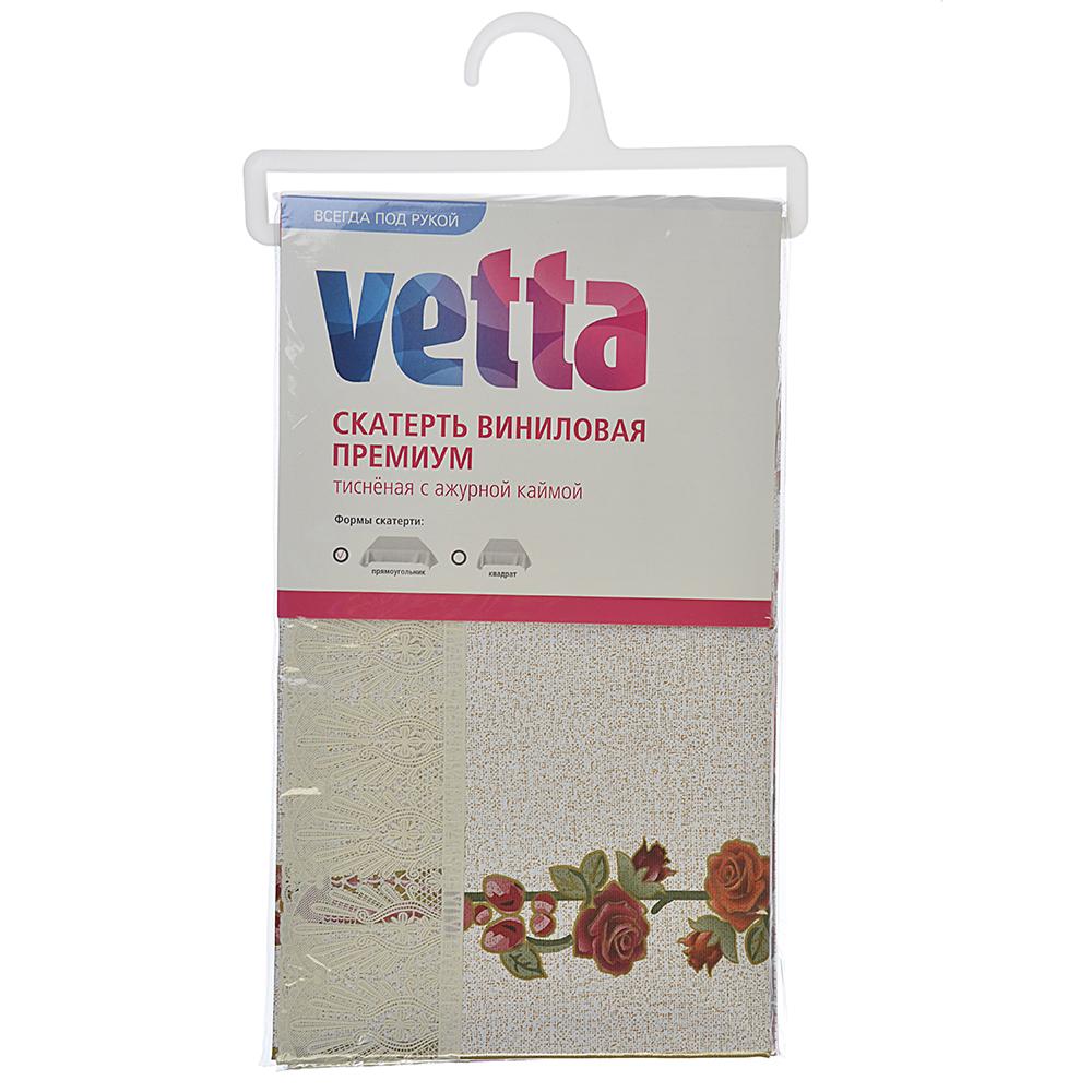 Скатерть на стол виниловая, клеенка тиснёная с ажурной каймой 110х140см, VETTA
