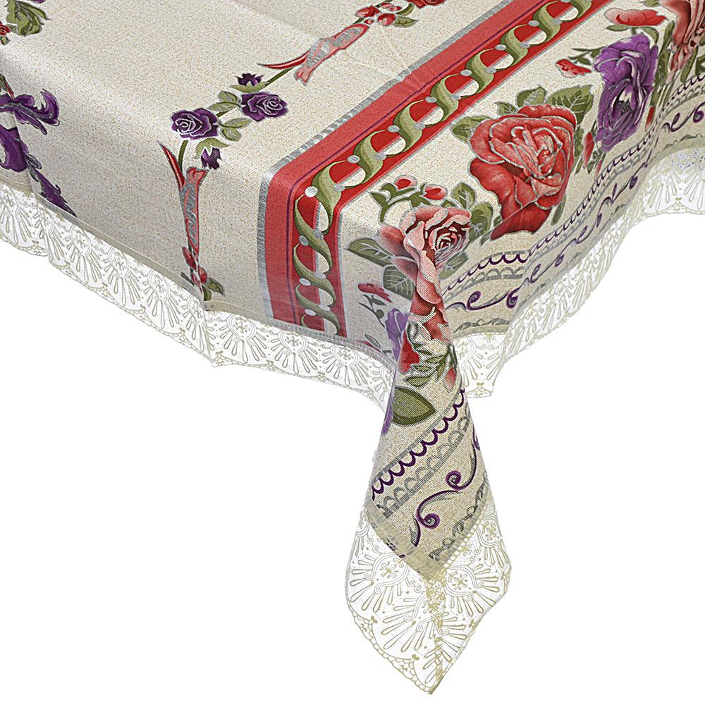 Скатерть на стол виниловая, клеенка тиснёная с ажурной каймой, 152х228см, VETTA