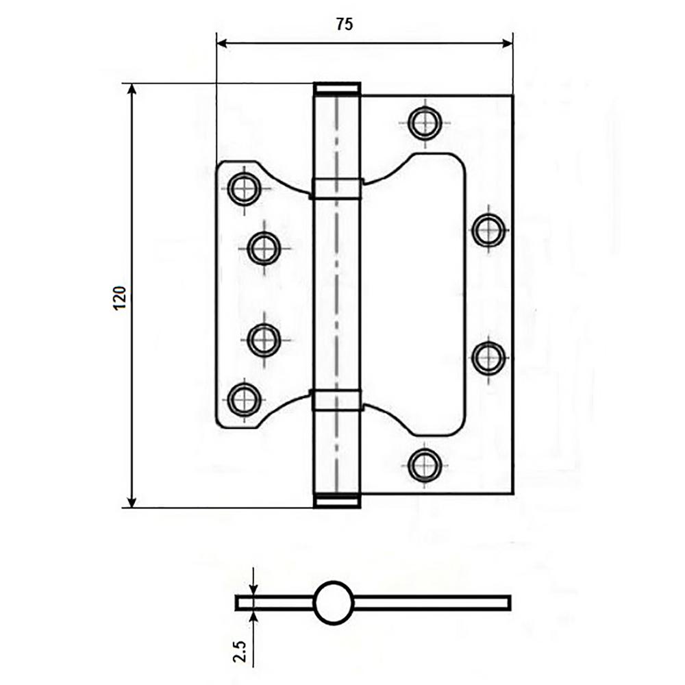KORAL Петля накладная (БЕЗ ВРЕЗКИ) 5x3x2,5 ab,бронза