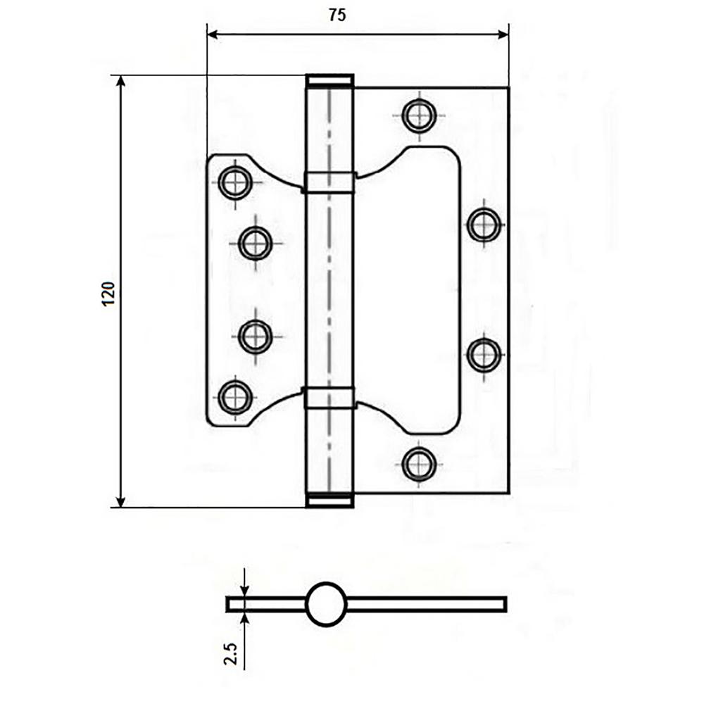 KORAL Петля накладная (БЕЗ ВРЕЗКИ) 5x3x2,5 sn, матовый хром