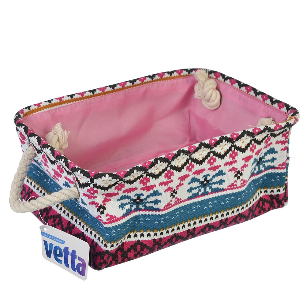 VETTA Корзина текстильная с ручками, лён, 29x20x12см, 3 дизайна