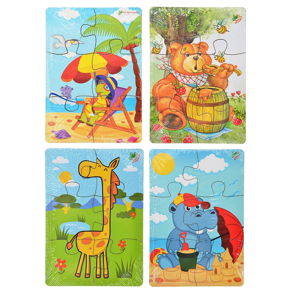 """МАСТЕР ИГРУШЕК Пазл """"Животные"""", 4-6 элементов, дерево, 14x10см, 4 дизайна"""
