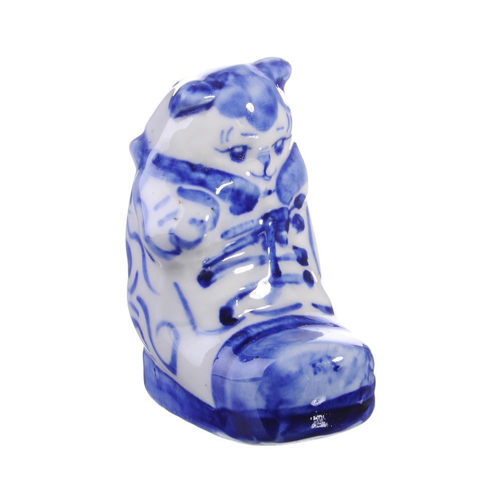 Фигурка керамическая в виде Котика в сапожке, 8,5х5х6,5см, Р-04