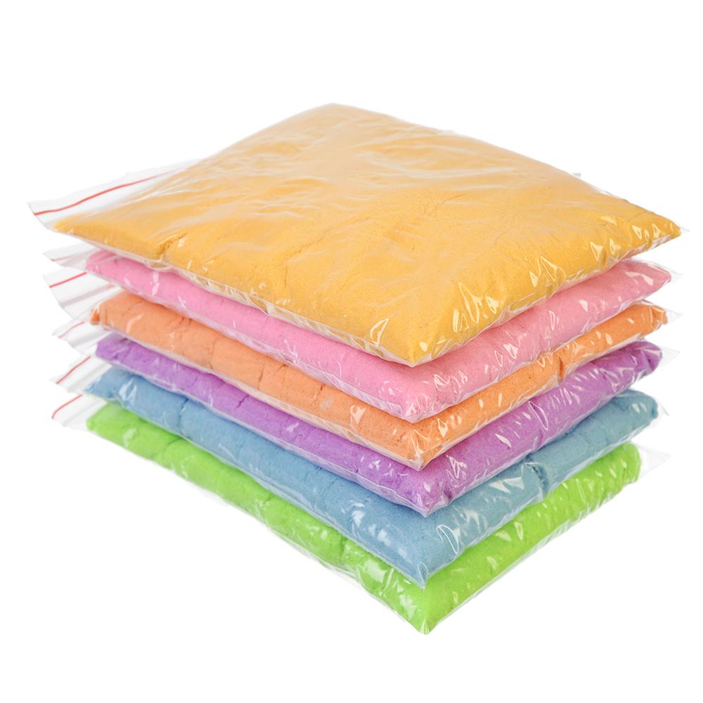 Кинетический песок 200, комплект: 3 формочки, пластик, песок 200гр, 6 цветов