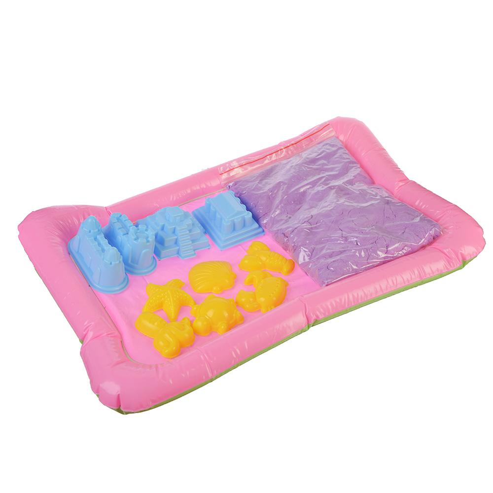 Кинетический песок 1000, комплект: песочница, 10 формочек, пластик, песок 1000гр, 6 цветов