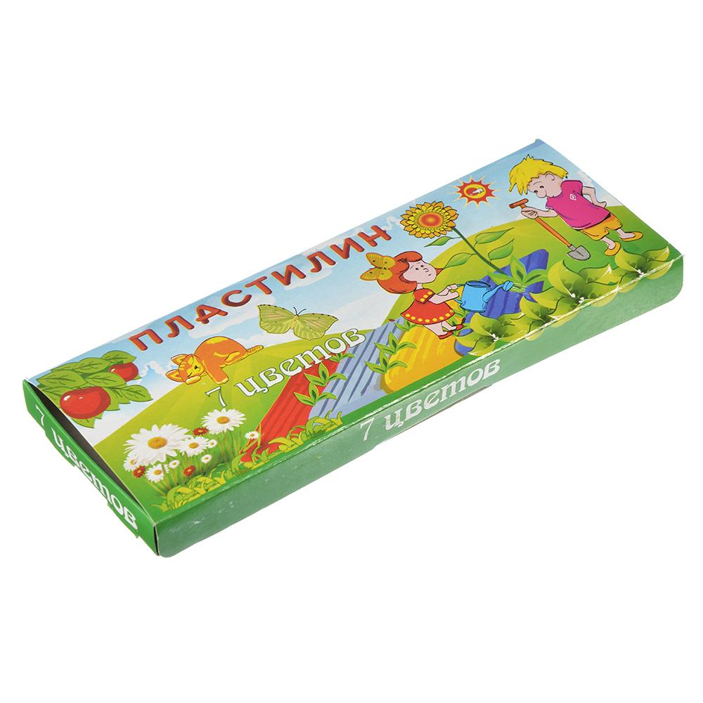 Пластилин 7 цветов 140 грамм в картонной упаковке с замочком, восковая основа