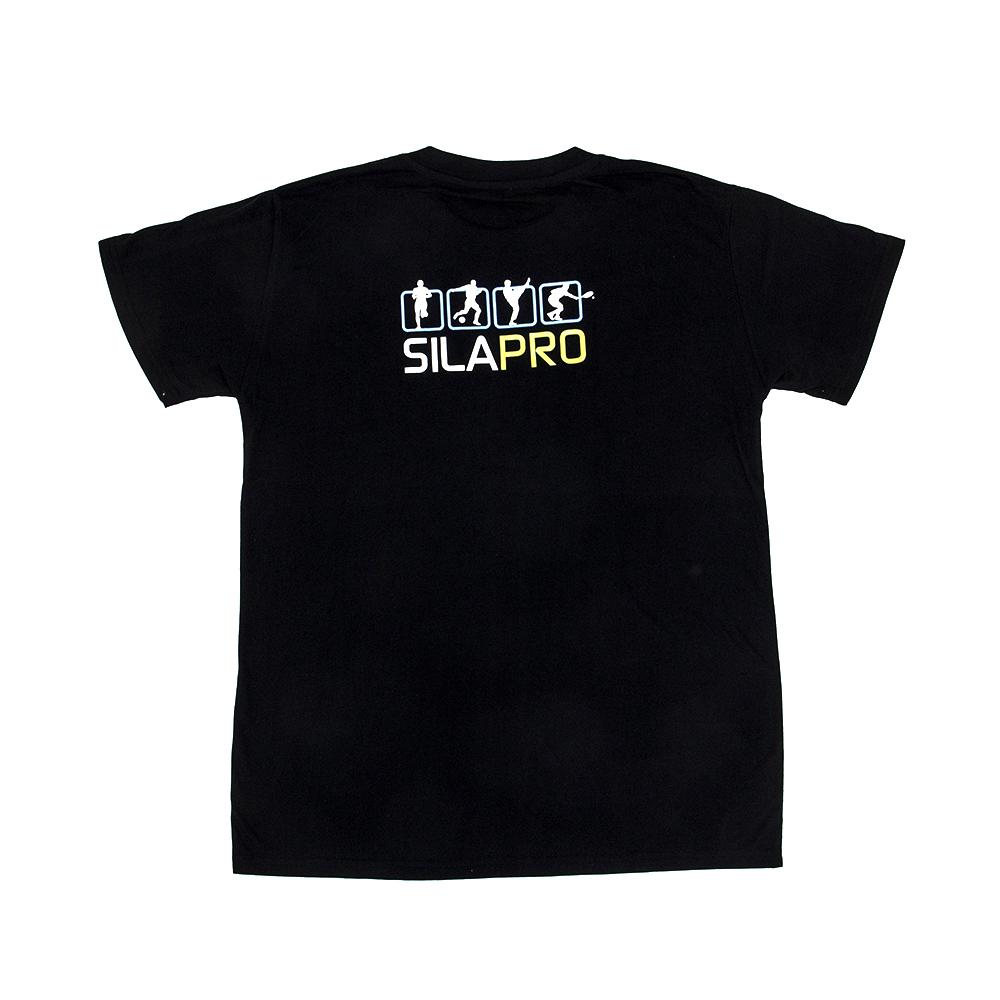 SILAPRO Футболка дизайнерская мужская, 100% хлопок, размер L, 210гр/м2, черная с принтом