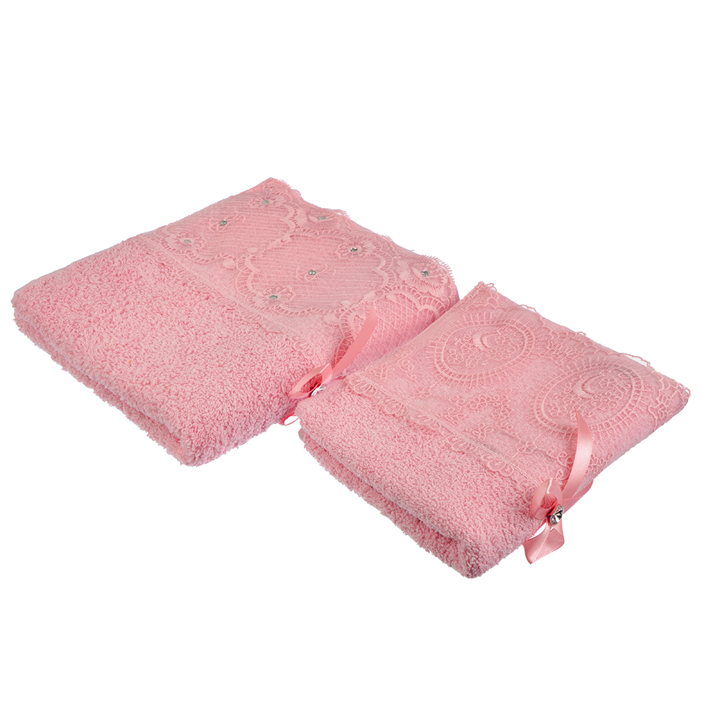 "Набор полотенец 2шт ""Кружева"" 34х70см, 50х90см, 100% хлопок, 420 гр/м, в подароч.уп"