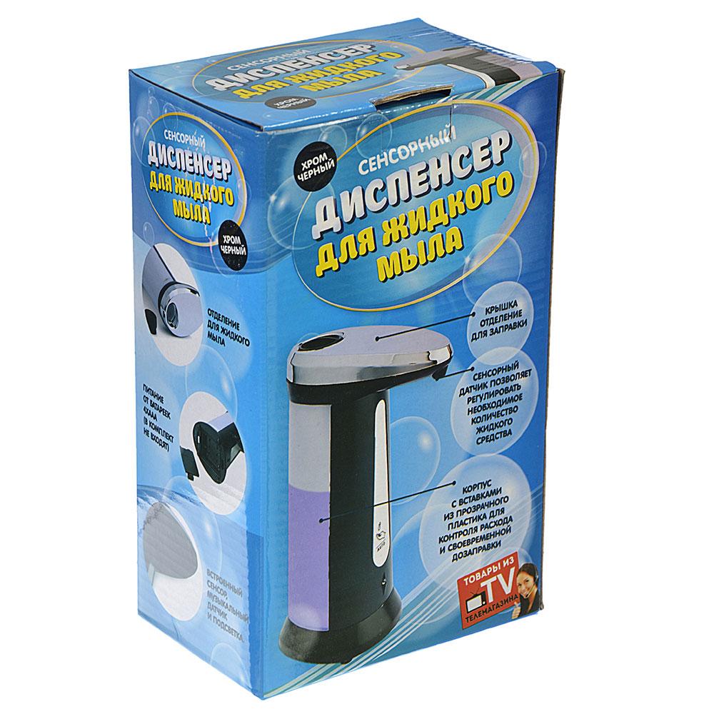 Диспенсер для жидкого мыла сенсорный, 400мл, пит 4ААА, хром/черный