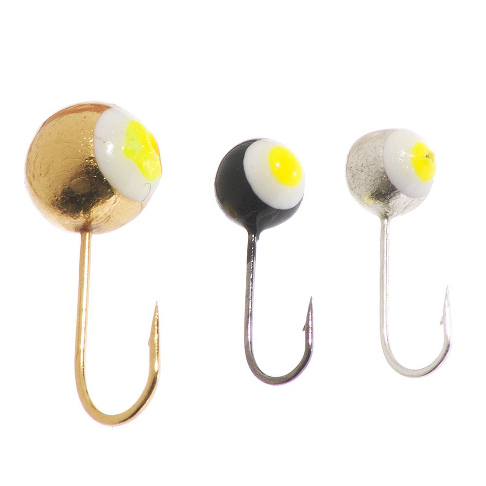 Набор мормышек 3шт, шар O3 мм с люминофором (золото, черный, серебро)