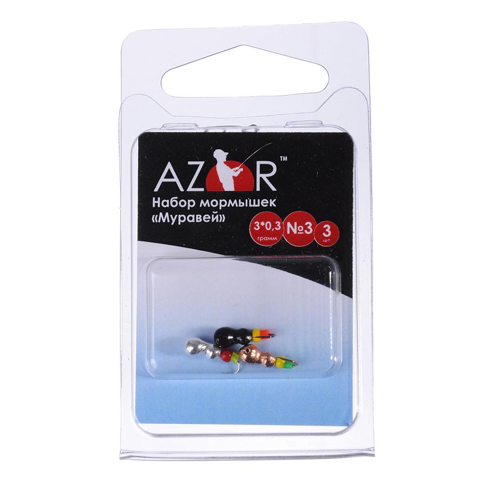 AZOR Набор мормышек 3шт, муравей №3 мм (медь, черный, серебро)