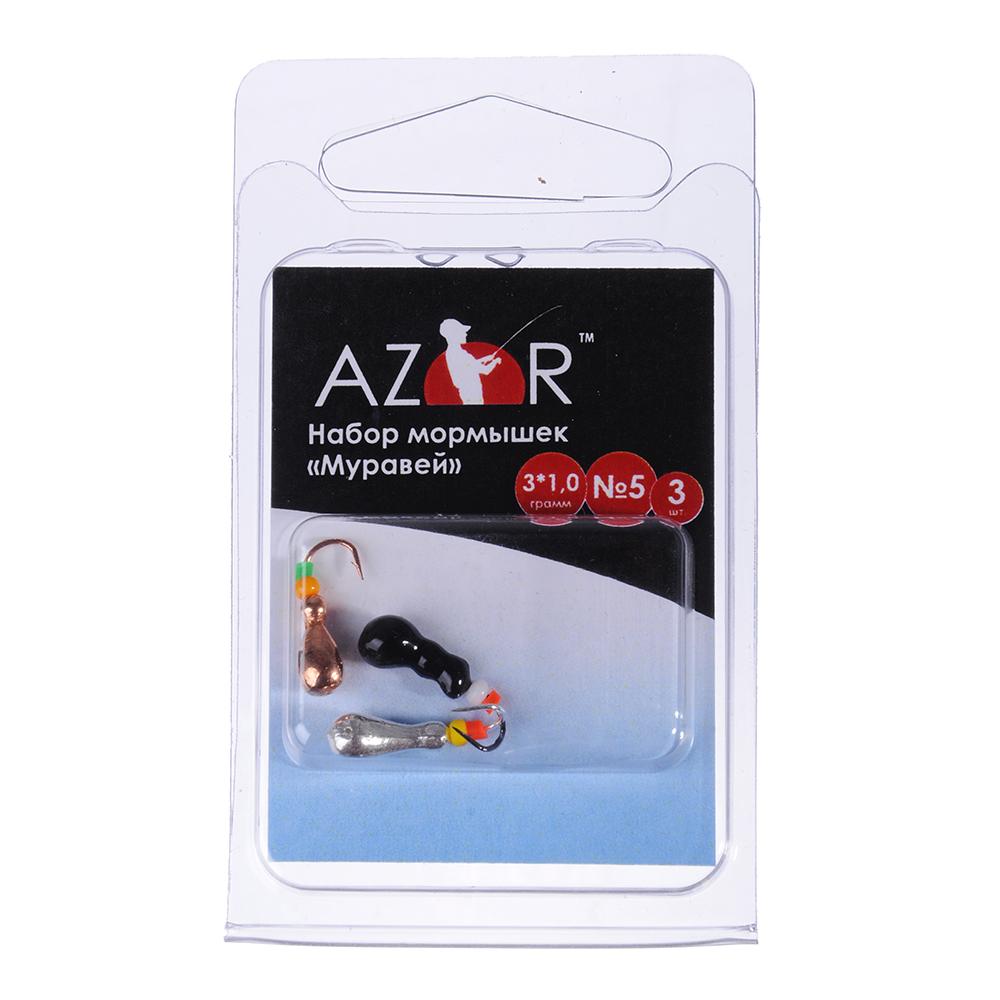 AZOR Набор мормышек 3шт, муравей №5 мм (медь, черный, серебро)