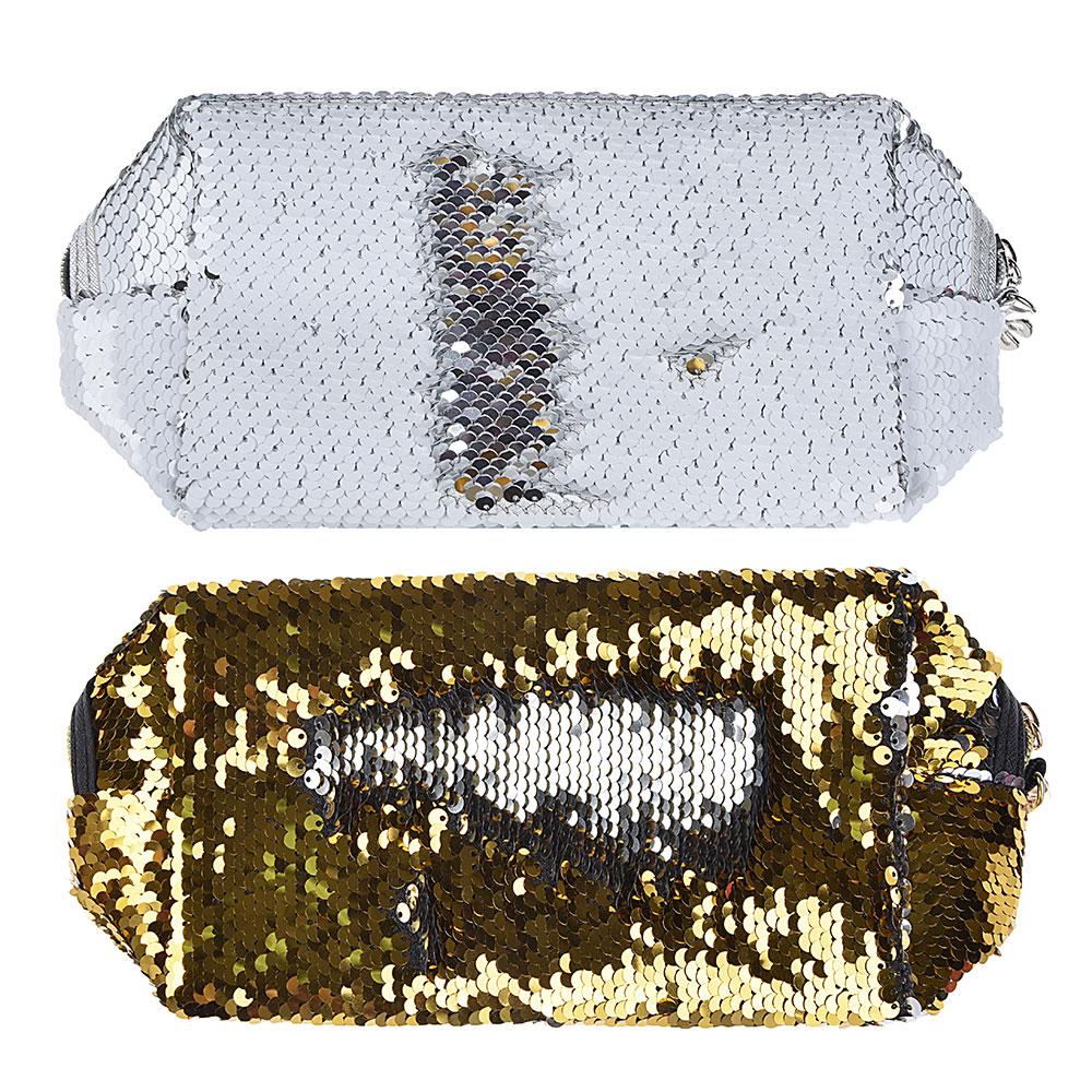 Косметичка с пайетками, полиэстер, 18х11х7,5 см, ПВХ, 2 цвета, PAVO